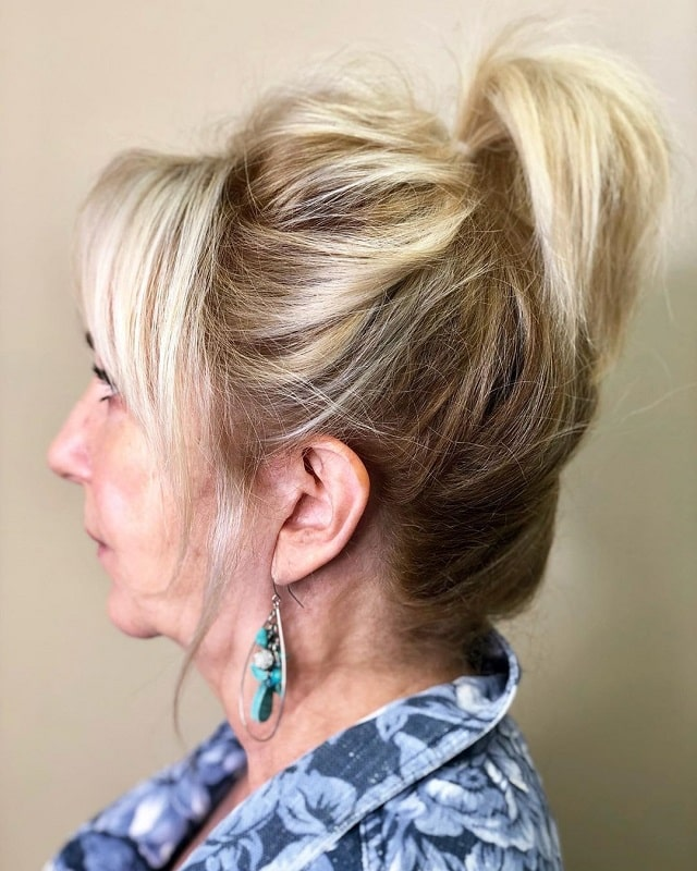 Messy Ponytail with Bangs