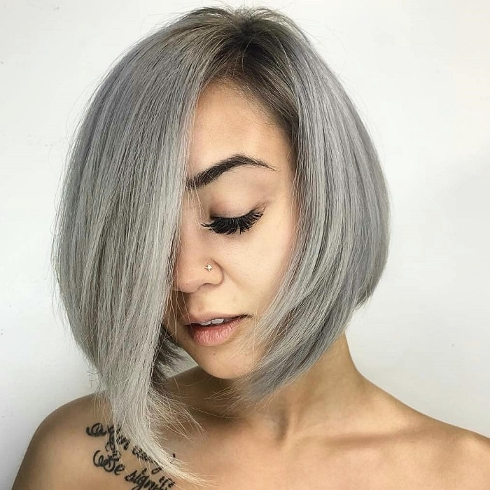 A line bob with bangs