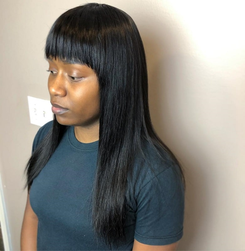 long sew-in with bangs