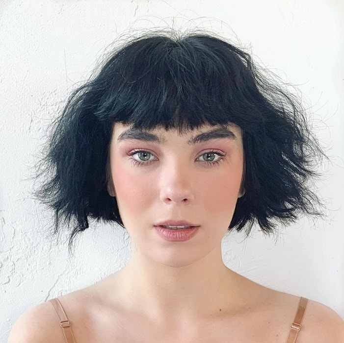 Messy Short Bob with Bangs