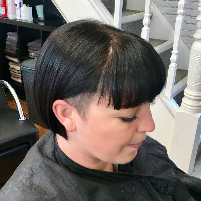 Undercut bob with bangs