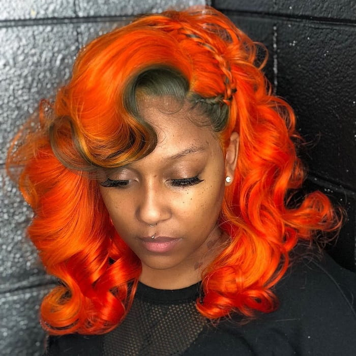 Sew in Weave with Side Swept Bangs