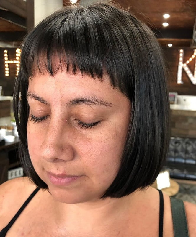 Short Bob with Bangs for Round Face