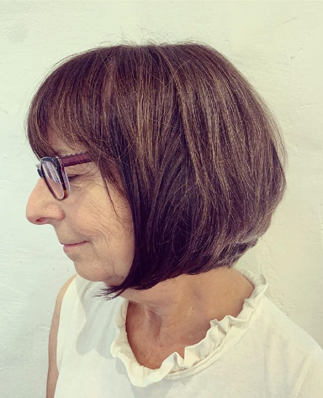 Short Bob Hairstyle with Bangs for Older Ladies