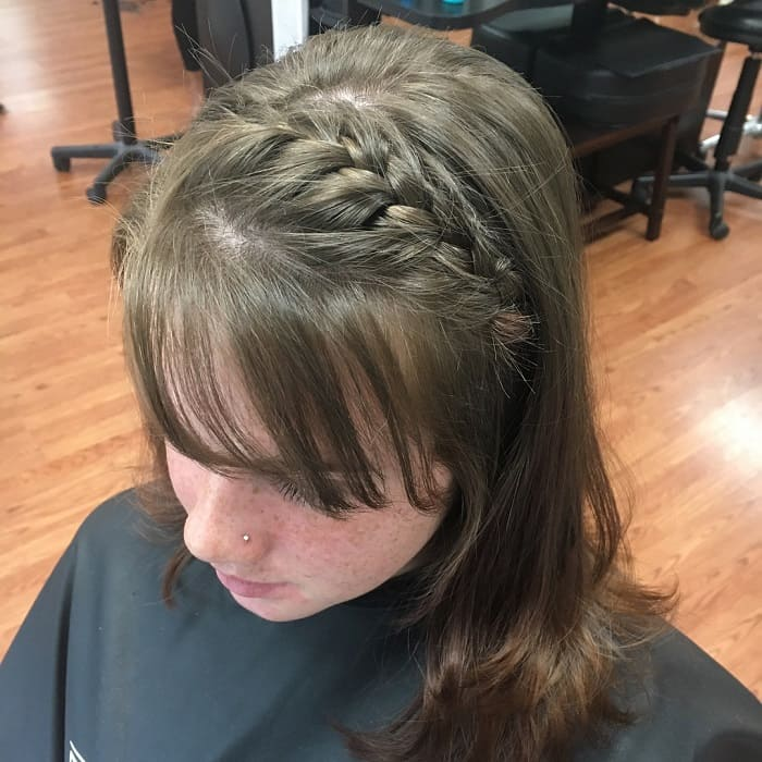French Braid with Bangs