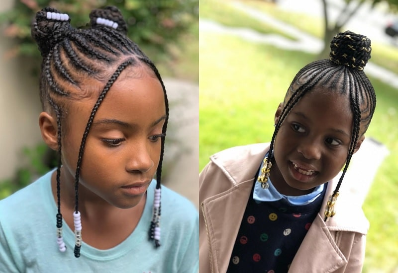 School Hairstyle with Braided Weave