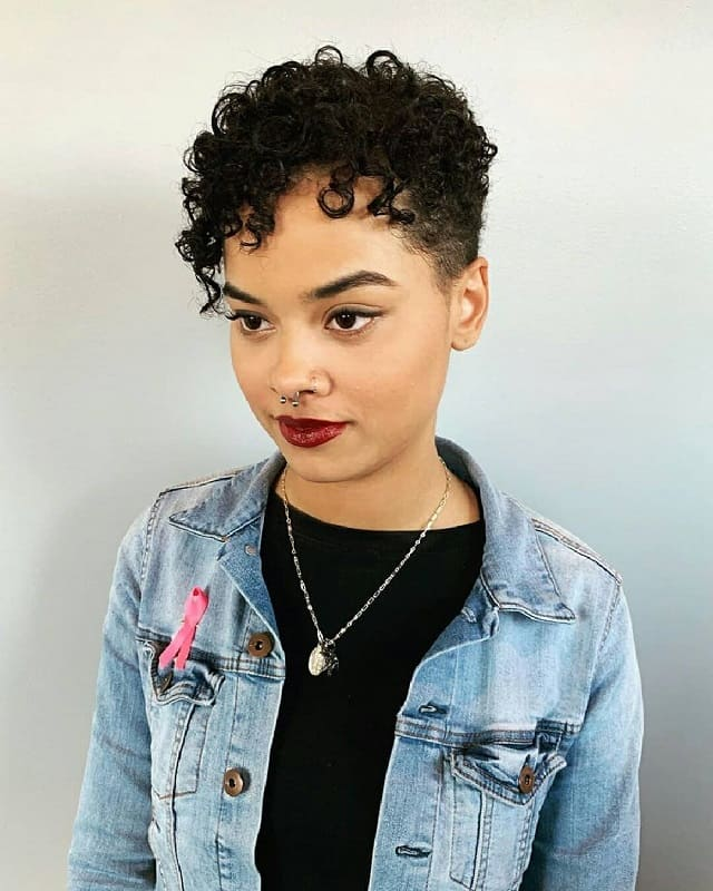 Pixie Cut for Curly Hair and Round Face