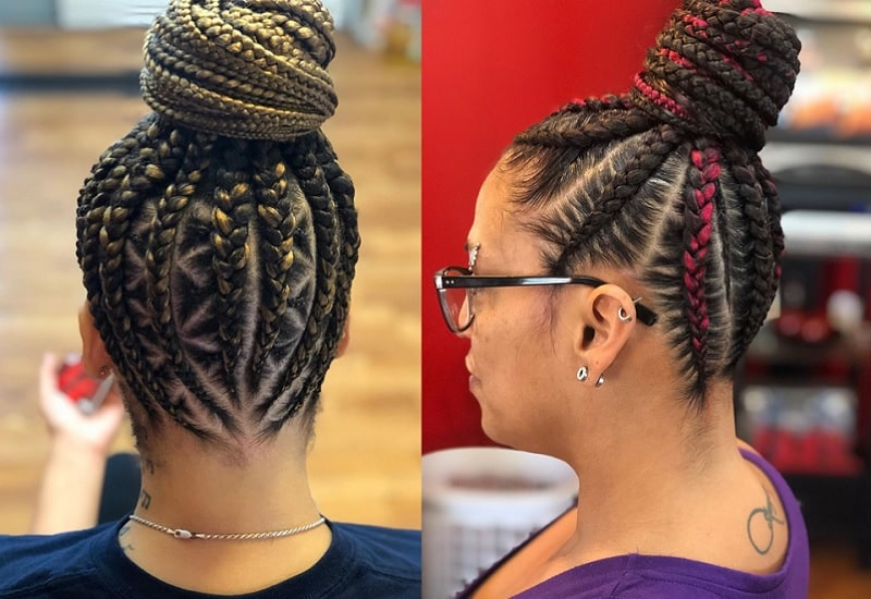 Braided Bun with Weave