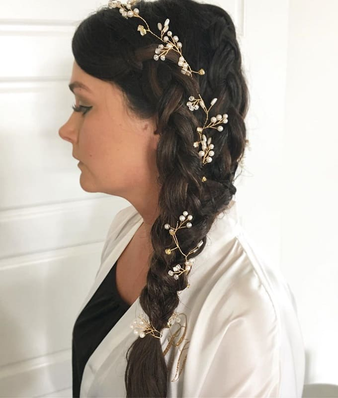 Long Braided Hairstyle for Wedding