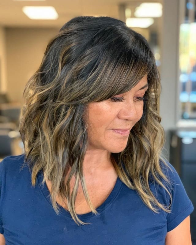 Lob With Bangs And Highlights