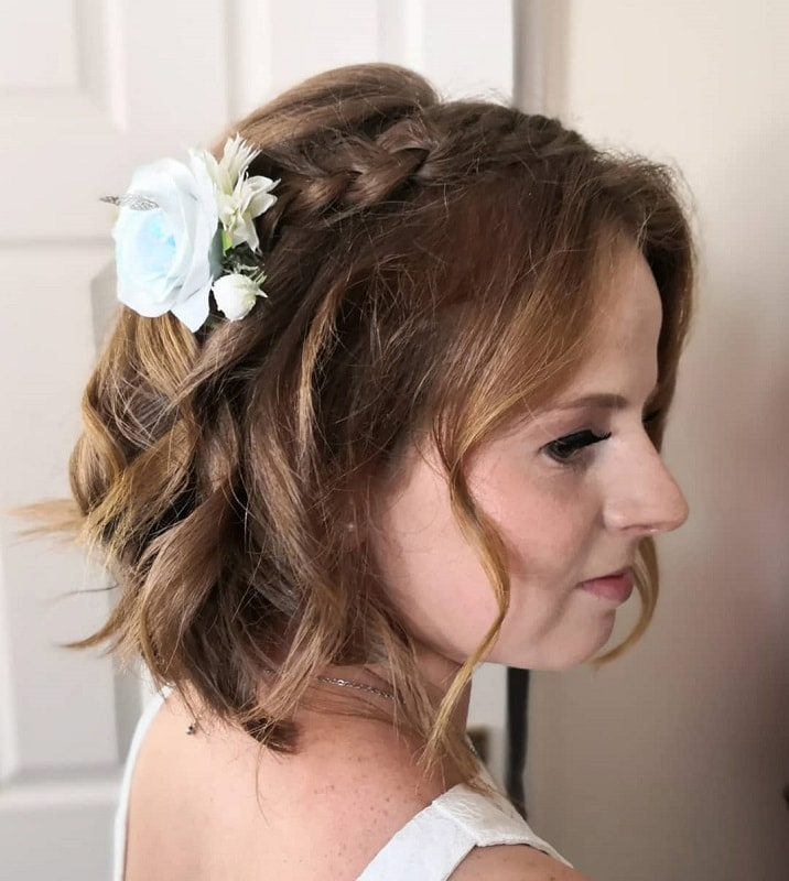 Short Braided Hairstyle for Wedding