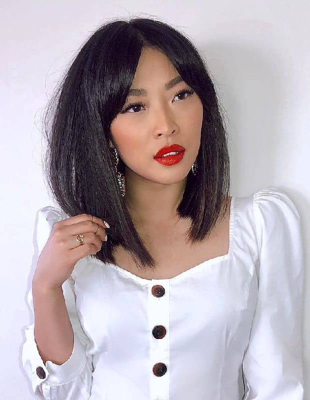 Long Bob With Curtain Bangs