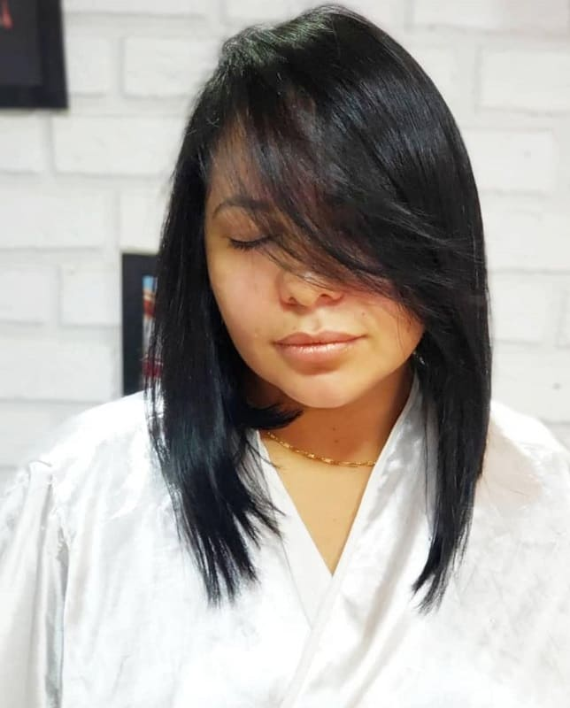 A Line Bob With Bangs for Long-haired Women