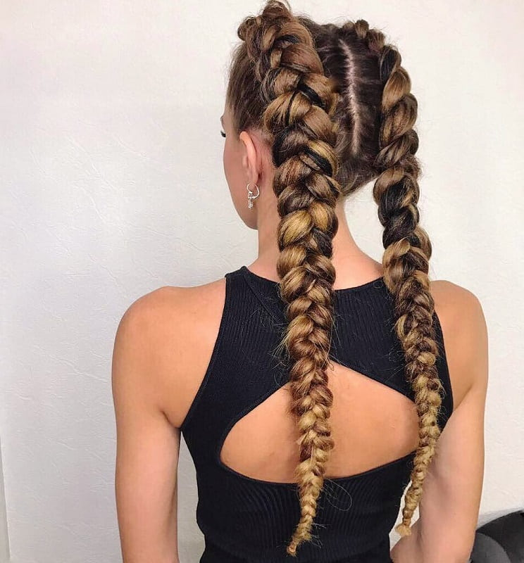 Double Braids with Long Hair