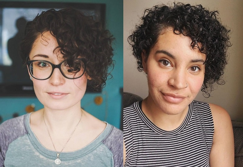 Asymmetrical Curly Pixie