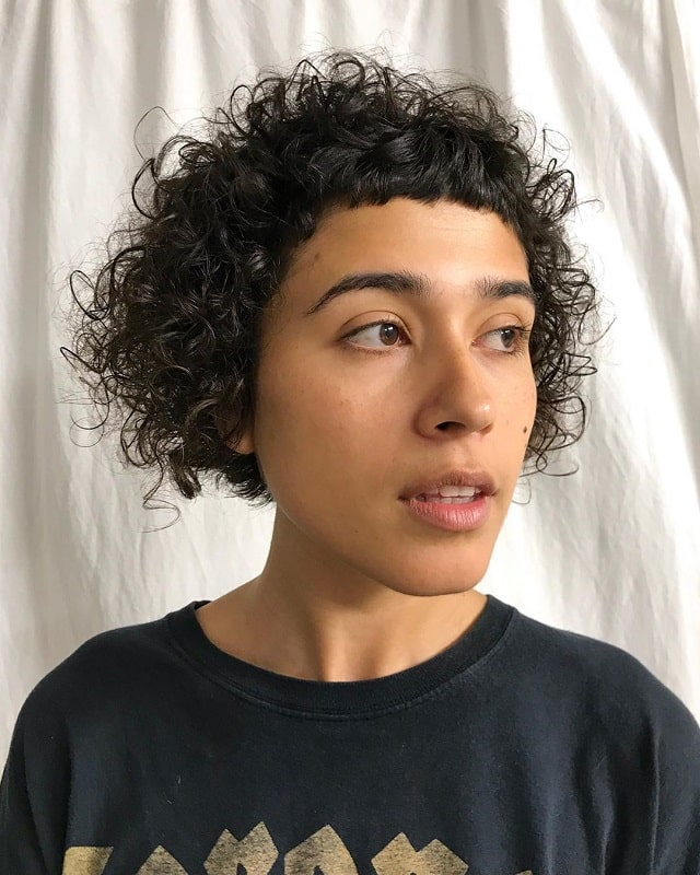 Curly Bob with Blunt Bangs