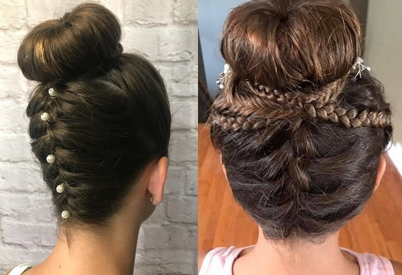 Sock Bun with French Braid
