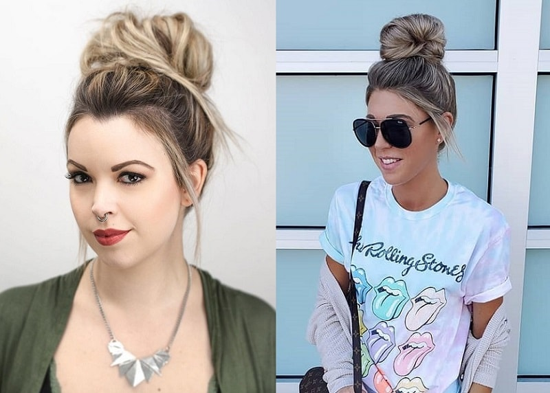 Top Knot Bun for Straight Hair