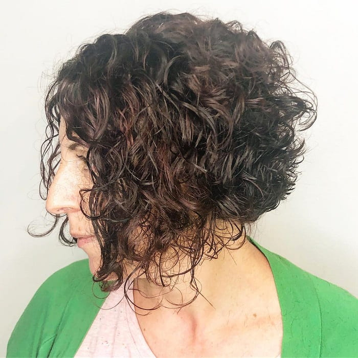 Angled Curly Hair with Layers