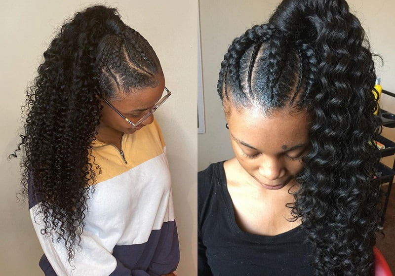 Braided Curly Ponytail