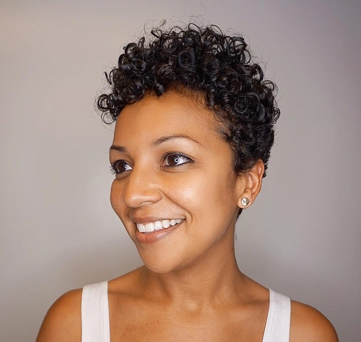 Curly Pixie Cut for Oval Face