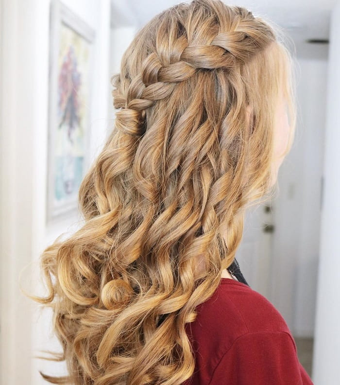 Braided Hairstyle for Curly Blonde Hair