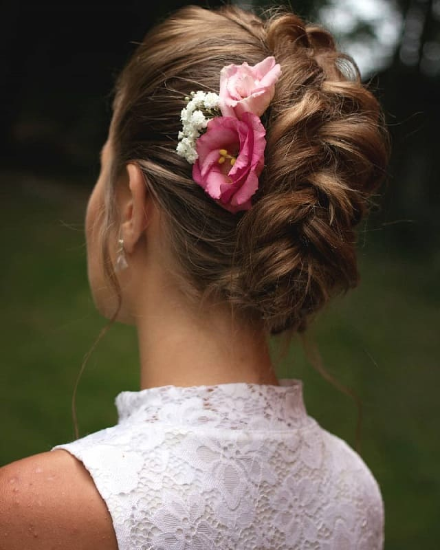 Wedding Hairstyle with Braid and Flowers