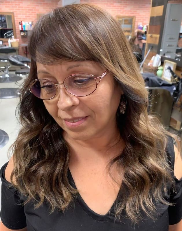 Side Bangs for Long-haired Women With Glasses