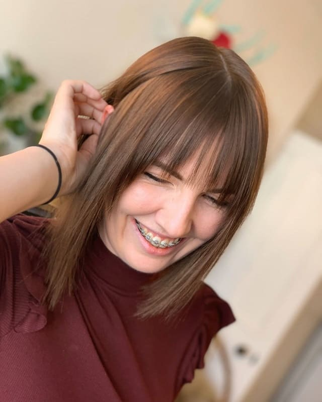 Lob with Bangs for Thin Hair