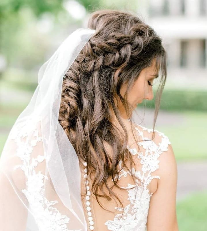 Braided Wedding Hairstyle with Veil