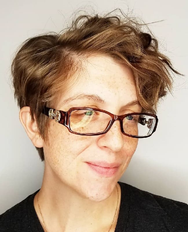 Messy Pixie Cut with Glasses