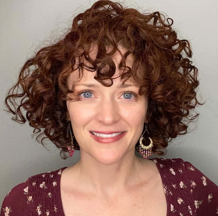 Shoulder Length Curly Bob with Bangs