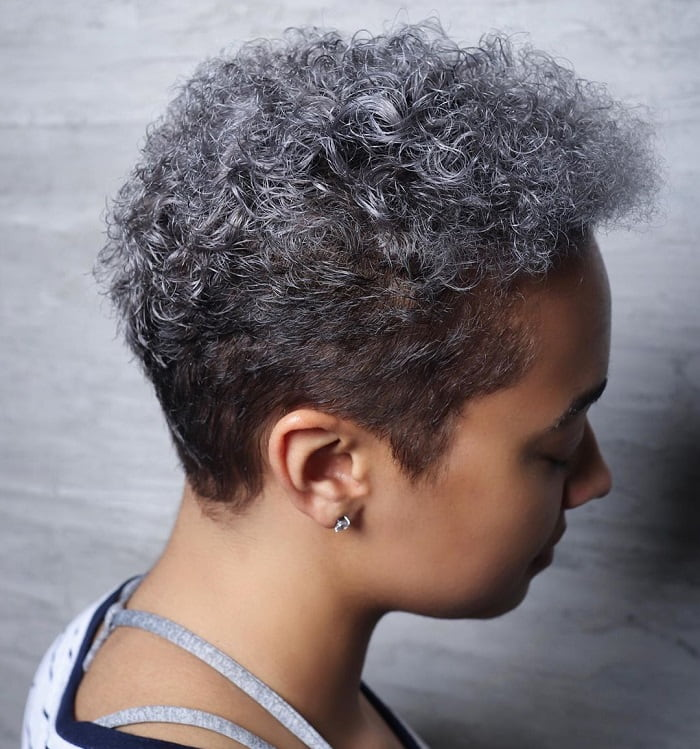 Grey Curly Pixie