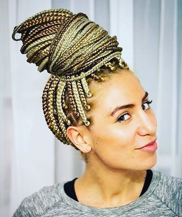 Top Knot Bun with Box Braids