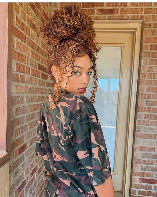 Curly Bun With Weave