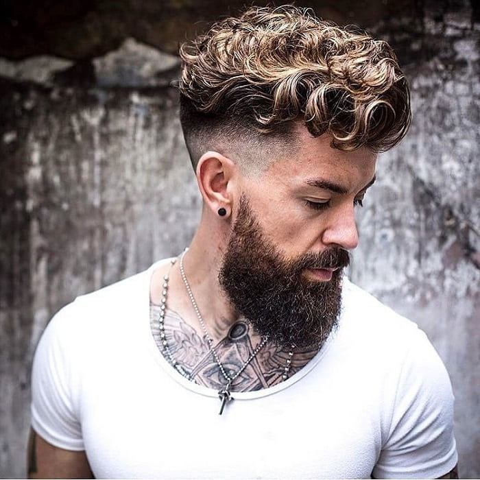 Low Faded Curly Hair with Beard
