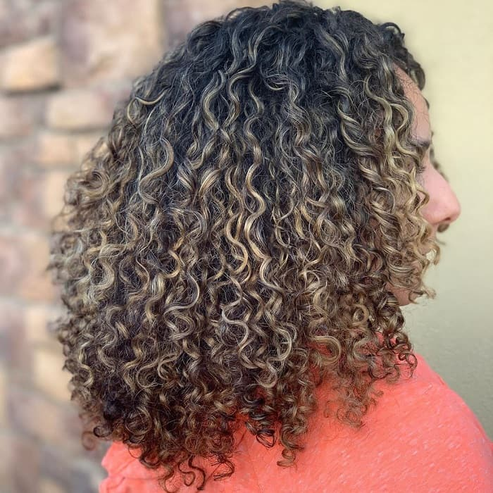 Blonde Highlights on Brown Curly Hair