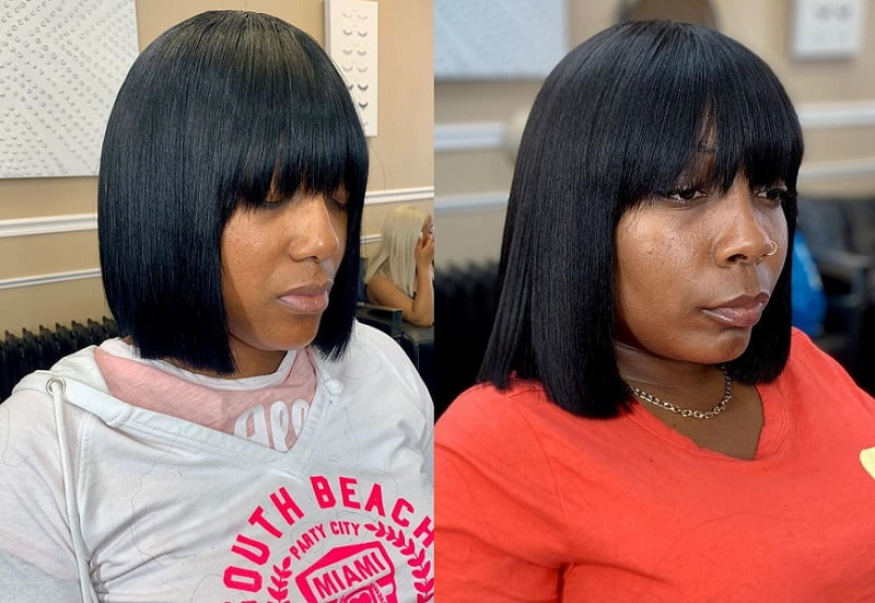 Bob with Weave and Bangs
