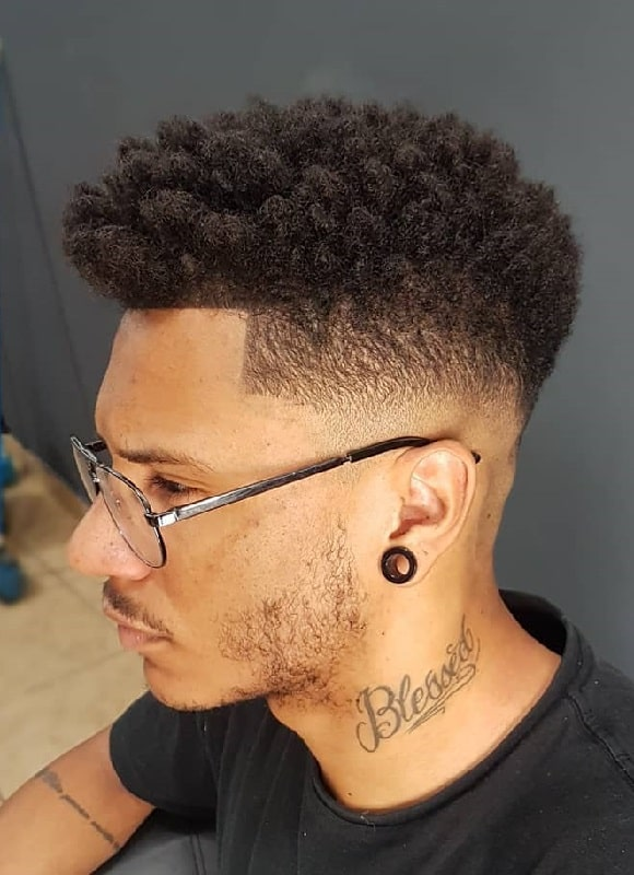 Curly Hair with Undercut and Low Fade