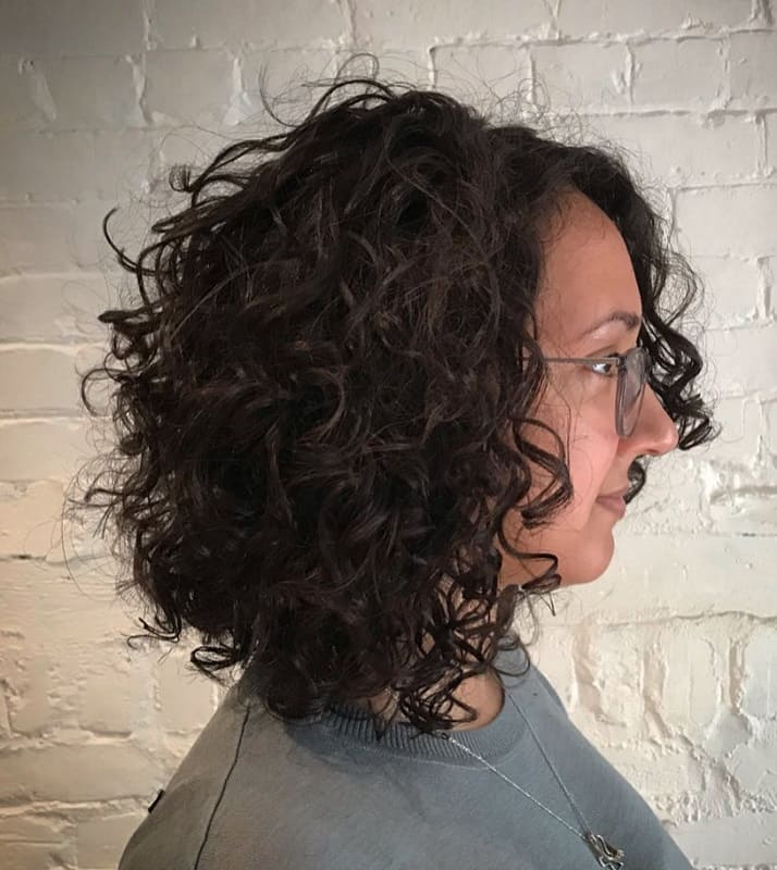 Angled Bob for Curly Long Hair