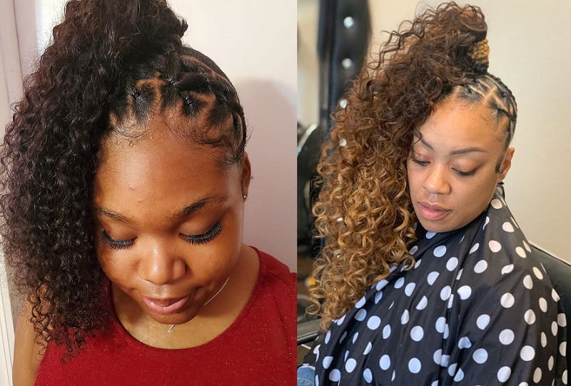 Sew-In Curly Hair Ponytail