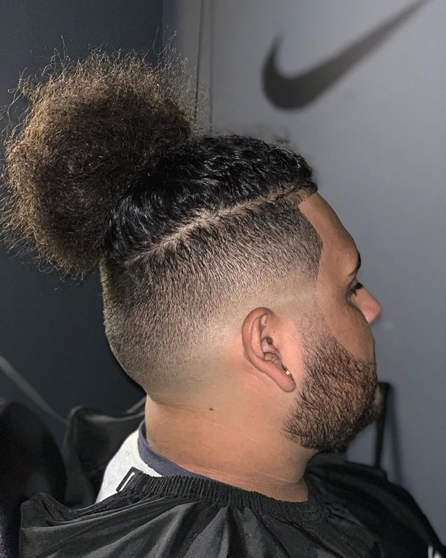 Curly Man Bun with Low Fade