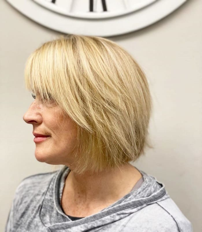 Choppy Layered Bob with Full Bangs