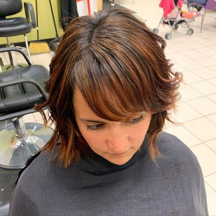 A Line Bob with Layers and Bangs