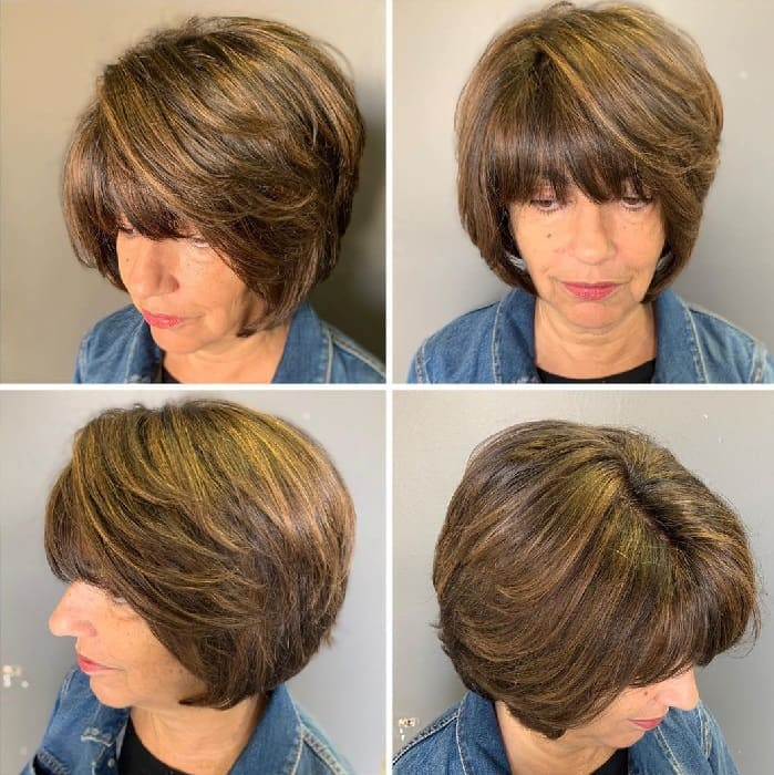 Layered Bob with Bangs for Woman Over 50