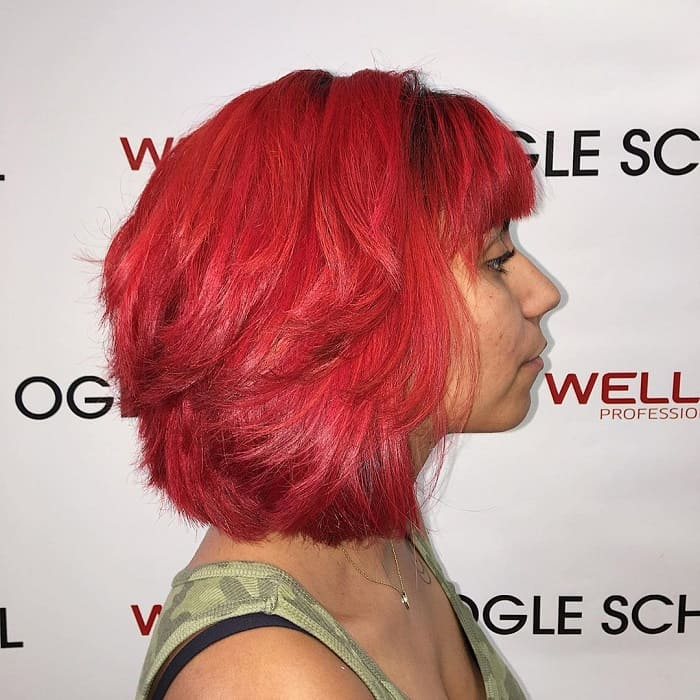 Layered Bob with Bangs with Weave