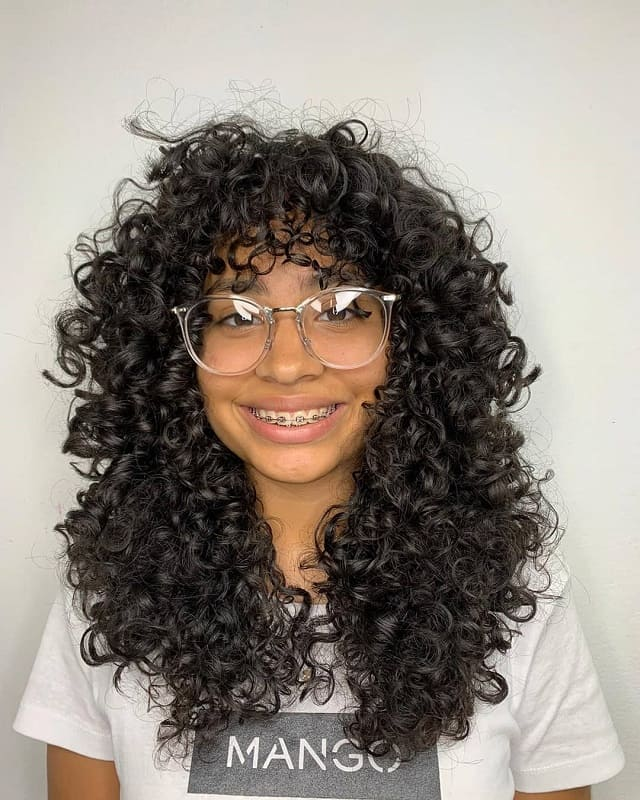 Long Natural Curly Hair with Bangs
