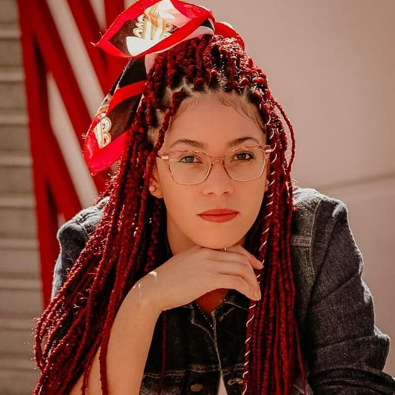 red box braids for girl with light skin