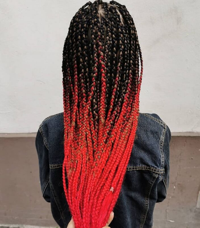 red ombre box braids