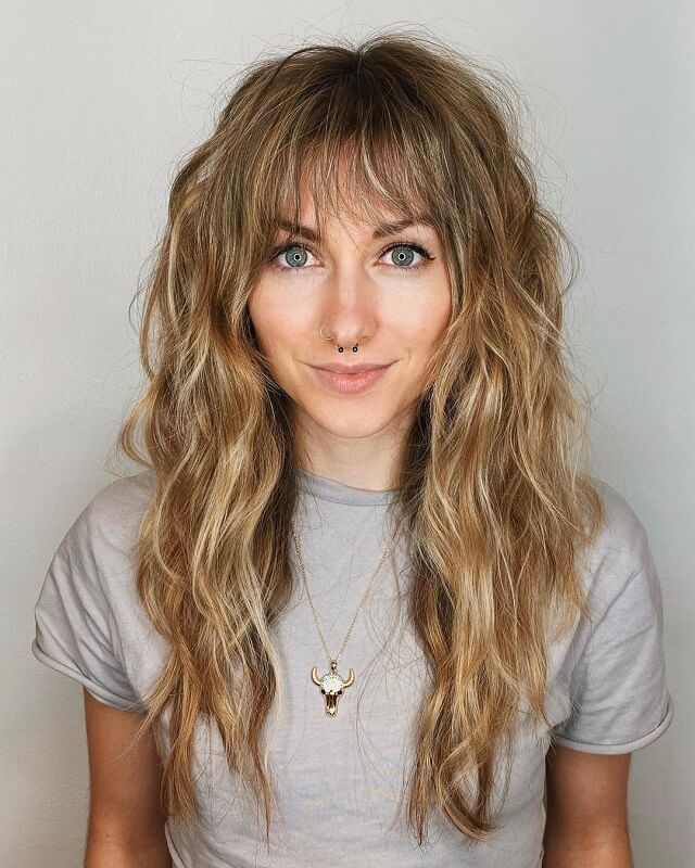 layered bangs for heart shaped face